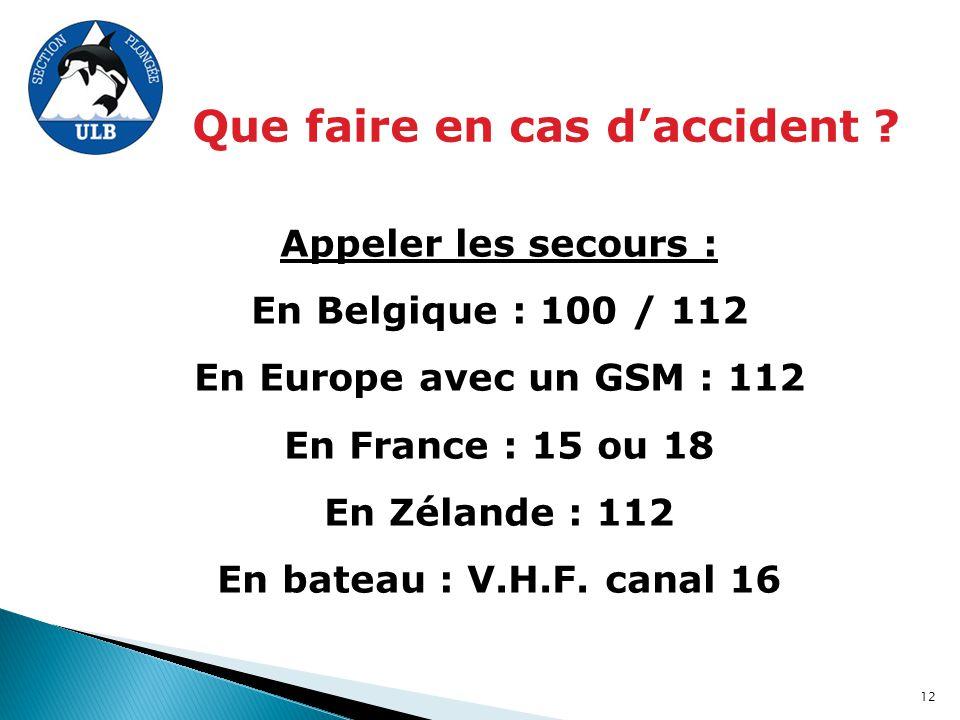 Que faire en cas d'accident ? Appeler les secours : En Belgique : 100 / 112 En Europe avec un GSM : 112 En France : 15 ou 18 En Zélande : 112 En batea