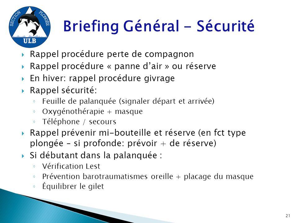 Briefing Général - Sécurité  Rappel procédure perte de compagnon  Rappel procédure « panne d'air » ou réserve  En hiver: rappel procédure givrage 