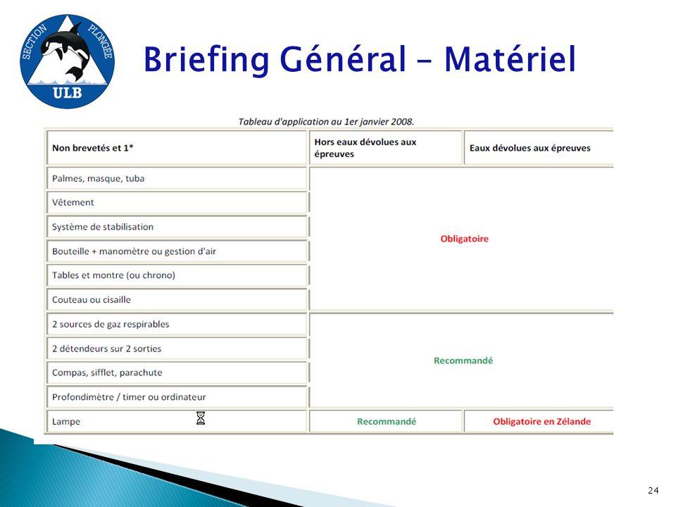 Briefing Général – Matériel 24
