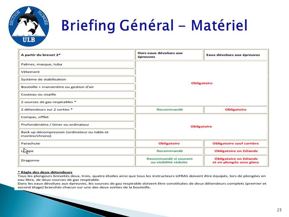 Briefing Général - Matériel 25
