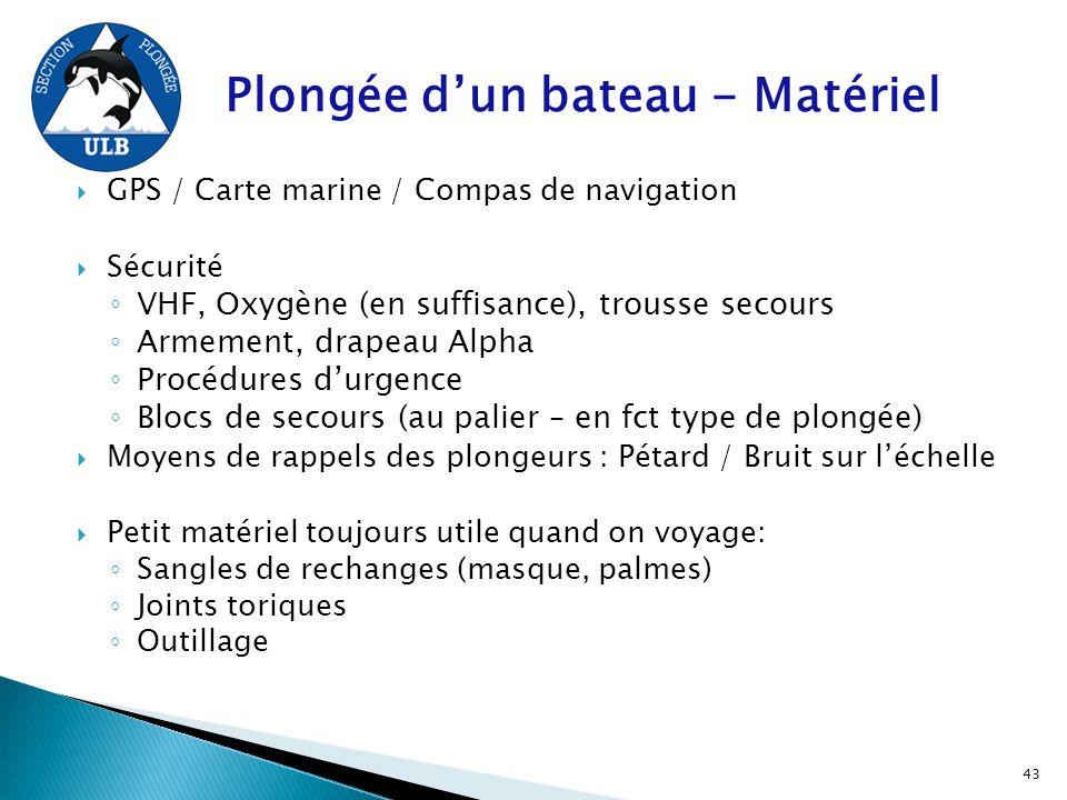 Plongée d'un bateau - Matériel  GPS / Carte marine / Compas de navigation  Sécurité ◦ VHF, Oxygène (en suffisance), trousse secours ◦ Armement, drap