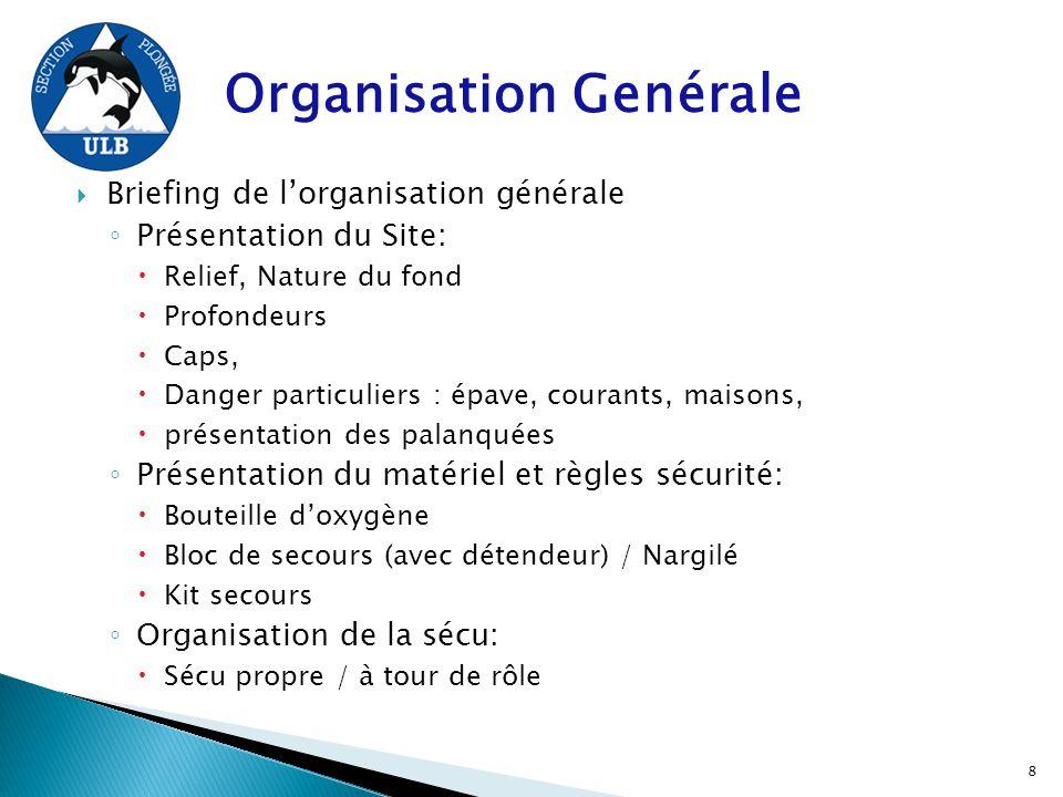 Organisation Genérale  Briefing de l'organisation générale ◦ Présentation du Site:  Relief, Nature du fond  Profondeurs  Caps,  Danger particulie