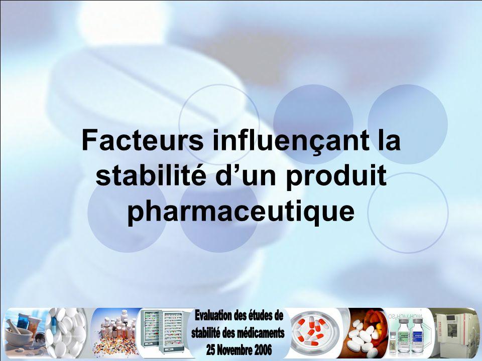 1 Facteurs influençant la stabilité d'un produit pharmaceutique