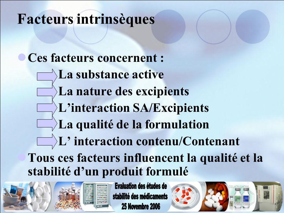 10 Facteurs intrinsèques Ces facteurs concernent : La substance active La nature des excipients L'interaction SA/Excipients La qualité de la formulati