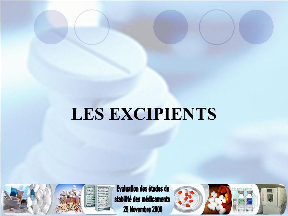 18 LES EXCIPIENTS