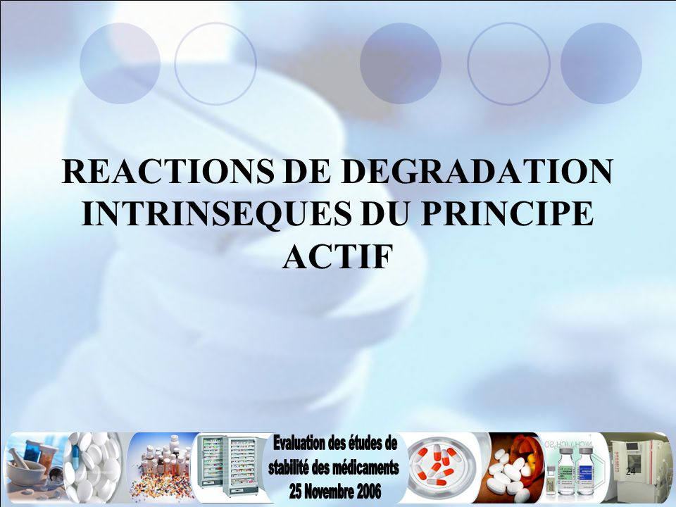 24 REACTIONS DE DEGRADATION INTRINSEQUES DU PRINCIPE ACTIF