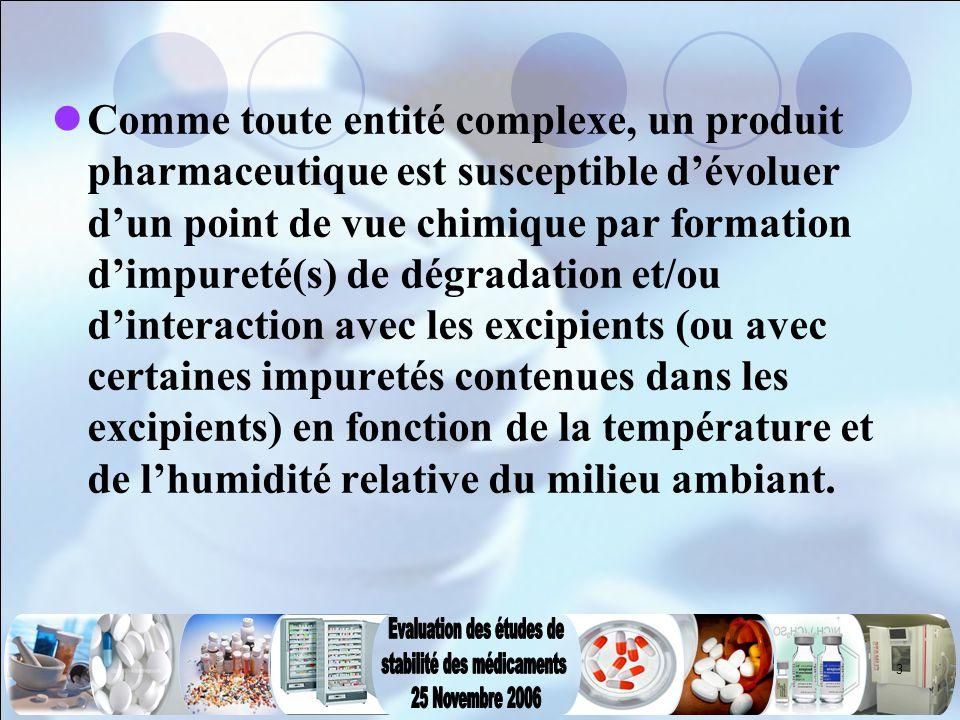 3 Comme toute entité complexe, un produit pharmaceutique est susceptible d'évoluer d'un point de vue chimique par formation d'impureté(s) de dégradati