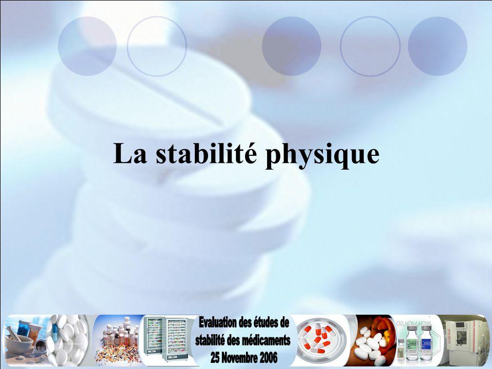30 La stabilité physique