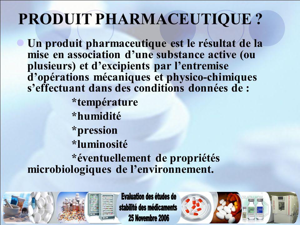5 PRODUIT PHARMACEUTIQUE ? Un produit pharmaceutique est le résultat de la mise en association d'une substance active (ou plusieurs) et d'excipients p