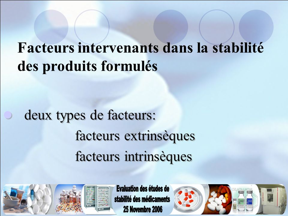 8 Facteurs intervenants dans la stabilité des produits formulés deux types de facteurs: facteurs extrinsèques facteurs intrinsèques deux types de fact