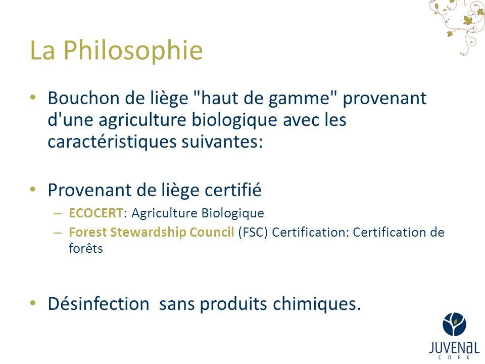 La Philosophie Bouchon de liège haut de gamme provenant d une agriculture biologique avec les caractéristiques suivantes: Provenant de liège certifié – ECOCERT: Agriculture Biologique – Forest Stewardship Council (FSC) Certification: Certification de forêts Désinfection sans produits chimiques.