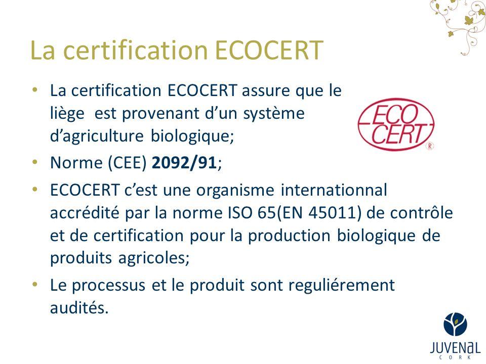 La certification ECOCERT La certification ECOCERT assure que le liège est provenant d'un système d'agriculture biologique; Norme (CEE) 2092/91; ECOCERT c'est une organisme internationnal accrédité par la norme ISO 65(EN 45011) de contrôle et de certification pour la production biologique de produits agricoles; Le processus et le produit sont reguliérement audités.