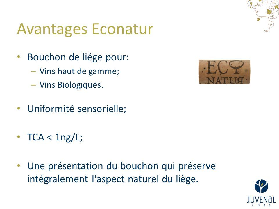 Avantages Econatur Bouchon de liége pour: – Vins haut de gamme; – Vins Biologiques. Uniformité sensorielle; TCA < 1ng/L; Une présentation du bouchon q