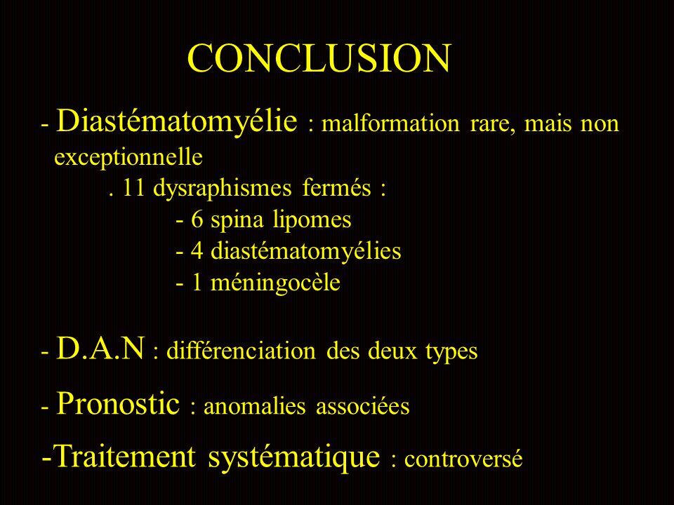 CONCLUSION - Diastématomyélie : malformation rare, mais non exceptionnelle.