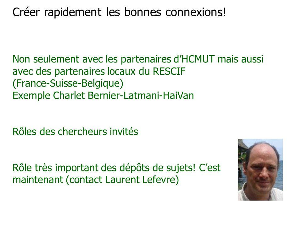 Créer rapidement les bonnes connexions! Non seulement avec les partenaires d'HCMUT mais aussi avec des partenaires locaux du RESCIF (France-Suisse-Bel