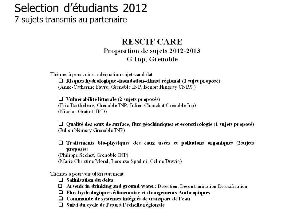 Selection d'étudiants 2012 7 sujets transmis au partenaire