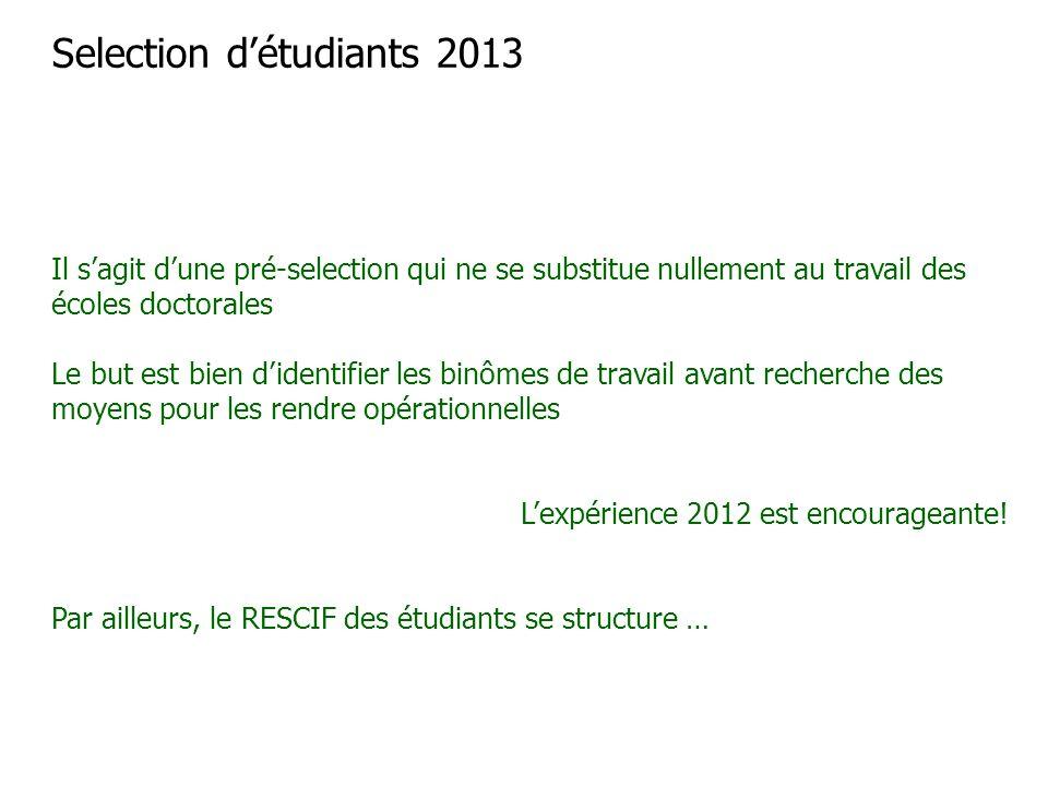 Selection d'étudiants 2013 Il s'agit d'une pré-selection qui ne se substitue nullement au travail des écoles doctorales Le but est bien d'identifier l