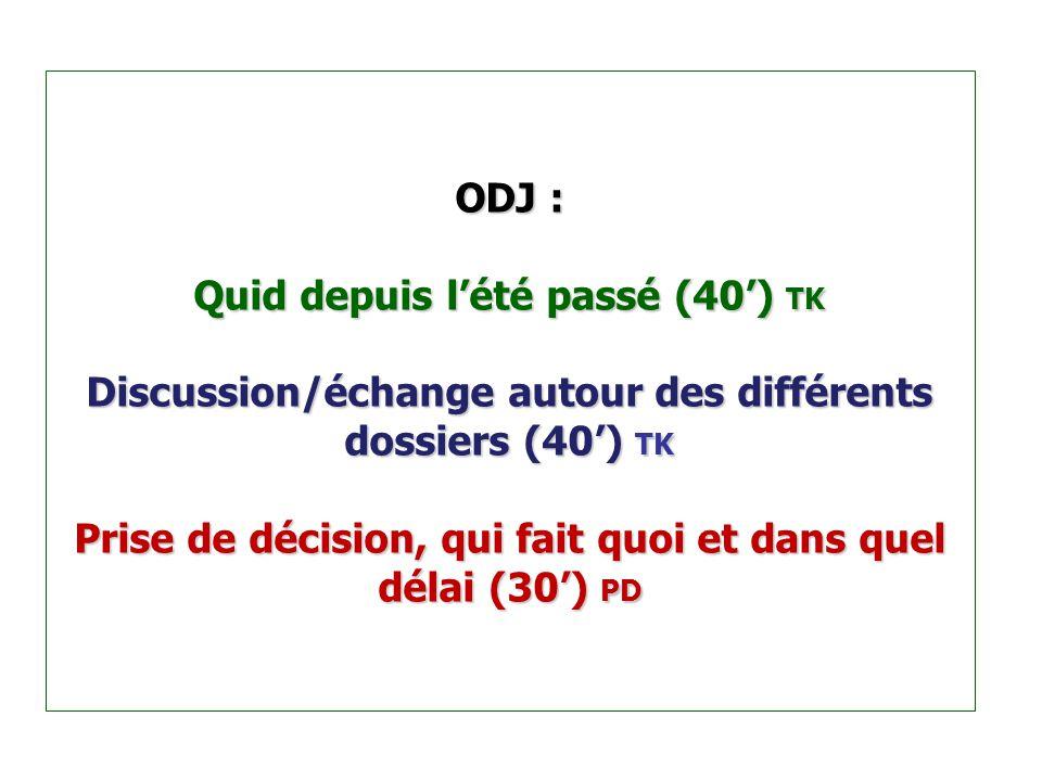 ODJ : Quid depuis l'été passé (40') TK Discussion/échange autour des différents dossiers (40') TK Prise de décision, qui fait quoi et dans quel délai