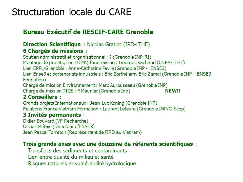 Bureau Exécutif de RESCIF-CARE Grenoble Direction Scientifique : Nicolas Gratiot (IRD-LTHE) 6 Chargés de missions : Soutien administratif et organisat