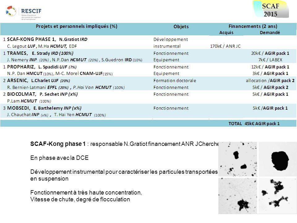 SCAF-Kong phase 1 : responsable N.Gratiot financement ANR JChercheur En phase avec la DCE Développement instrumental pour caractériser les particules
