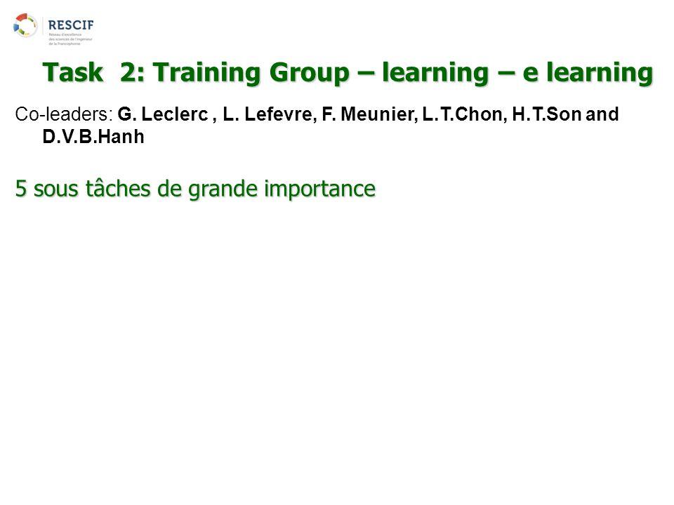 Co-leaders: G. Leclerc, L. Lefevre, F. Meunier, L.T.Chon, H.T.Son and D.V.B.Hanh 5 sous tâches de grande importance Task 2: Training Group – learning