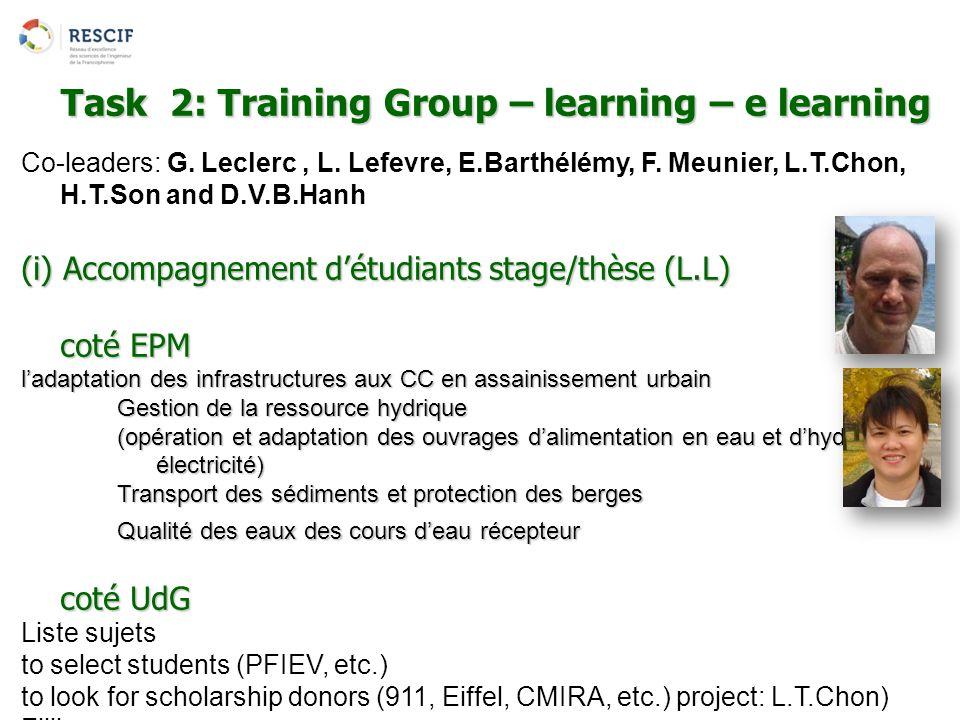 Co-leaders: G. Leclerc, L. Lefevre, E.Barthélémy, F. Meunier, L.T.Chon, H.T.Son and D.V.B.Hanh (i) Accompagnement d'étudiants stage/thèse (L.L) coté E
