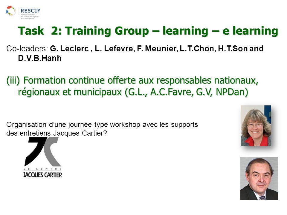 Co-leaders: G. Leclerc, L. Lefevre, F. Meunier, L.T.Chon, H.T.Son and D.V.B.Hanh (iii) Formation continue offerte aux responsables nationaux, régionau