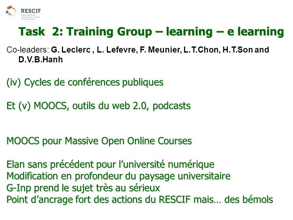 Co-leaders: G. Leclerc, L. Lefevre, F. Meunier, L.T.Chon, H.T.Son and D.V.B.Hanh (iv) Cycles de conférences publiques Et (v) MOOCS, outils du web 2.0,