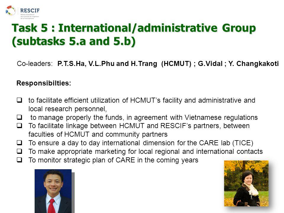 Co-leaders: P.T.S.Ha, V.L.Phu and H.Trang (HCMUT) ; G.Vidal ; Y. Changkakoti Task 5 : International/administrative Group (subtasks 5.a and 5.b) Respon