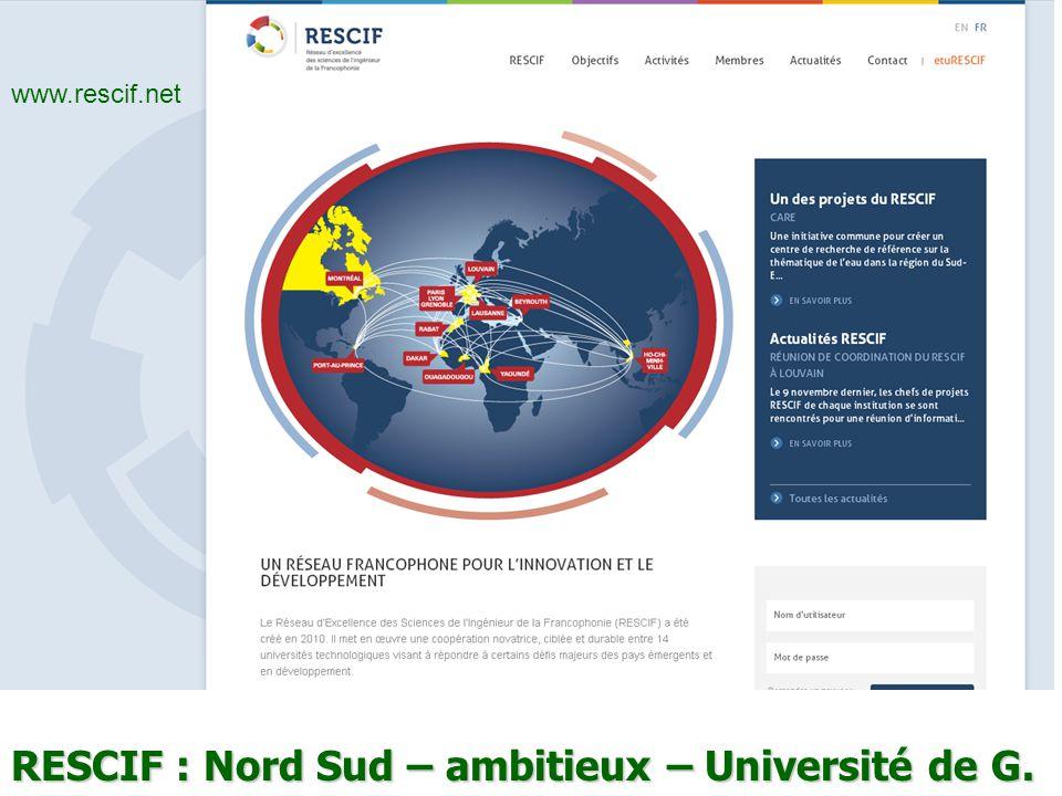 RESCIF : Nord Sud – ambitieux – Université de G. www.rescif.net