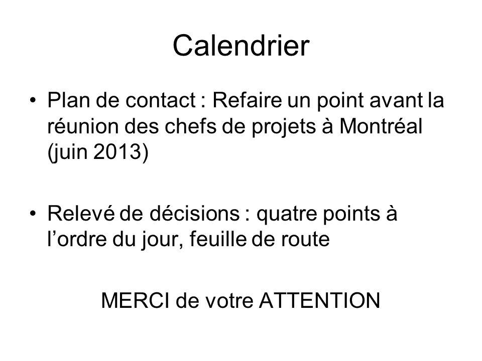 Calendrier Plan de contact : Refaire un point avant la réunion des chefs de projets à Montréal (juin 2013) Relevé de décisions : quatre points à l'ord