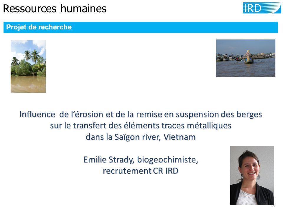 Ressources humaines 8 Projet de recherche Influence de l'érosion et de la remise en suspension des berges sur le transfert des éléments traces métalli