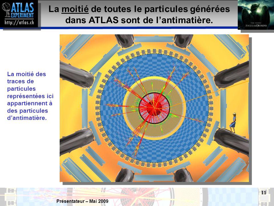 Présentateur – Mai 2009 11 La moitié de toutes le particules générées dans ATLAS sont de l'antimatière.