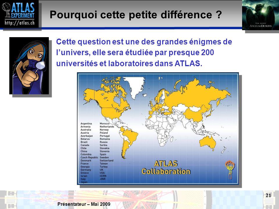 Présentateur – Mai 2009 21 Pourquoi cette petite différence .