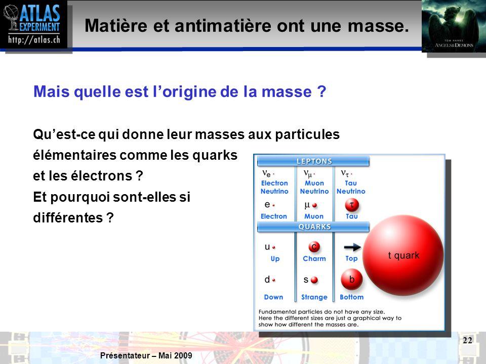 Présentateur – Mai 2009 22 Mais quelle est l'origine de la masse .