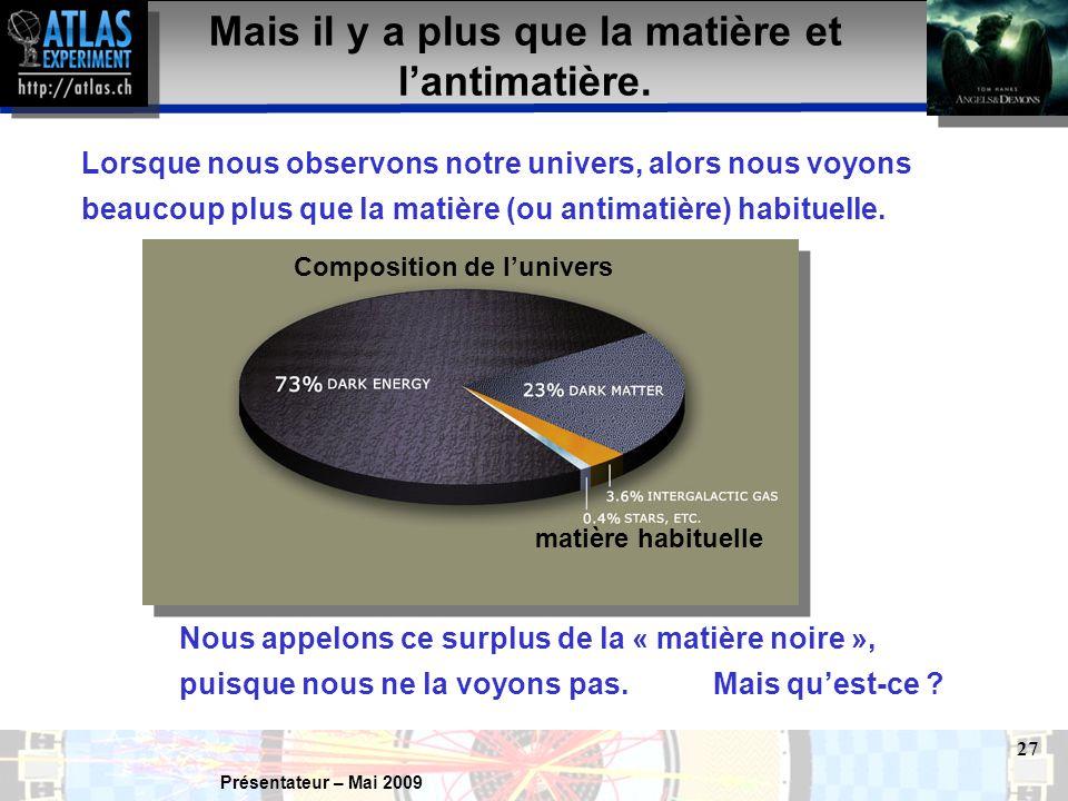 Présentateur – Mai 2009 27 Mais il y a plus que la matière et l'antimatière.