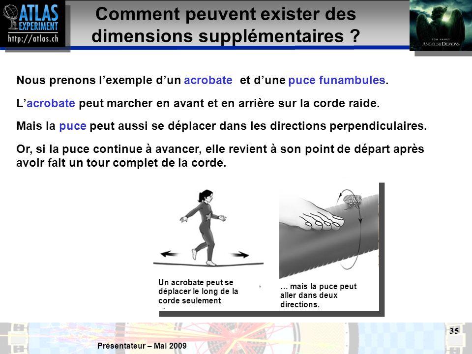 Présentateur – Mai 2009 35 Nous prenons l'exemple d'un acrobate et d'une puce funambules.