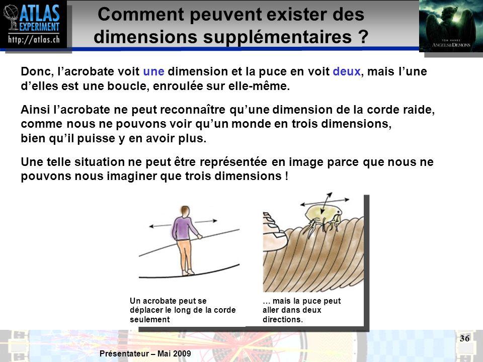 Présentateur – Mai 2009 36 Donc, l'acrobate voit une dimension et la puce en voit deux, mais l'une d'elles est une boucle, enroulée sur elle-même.
