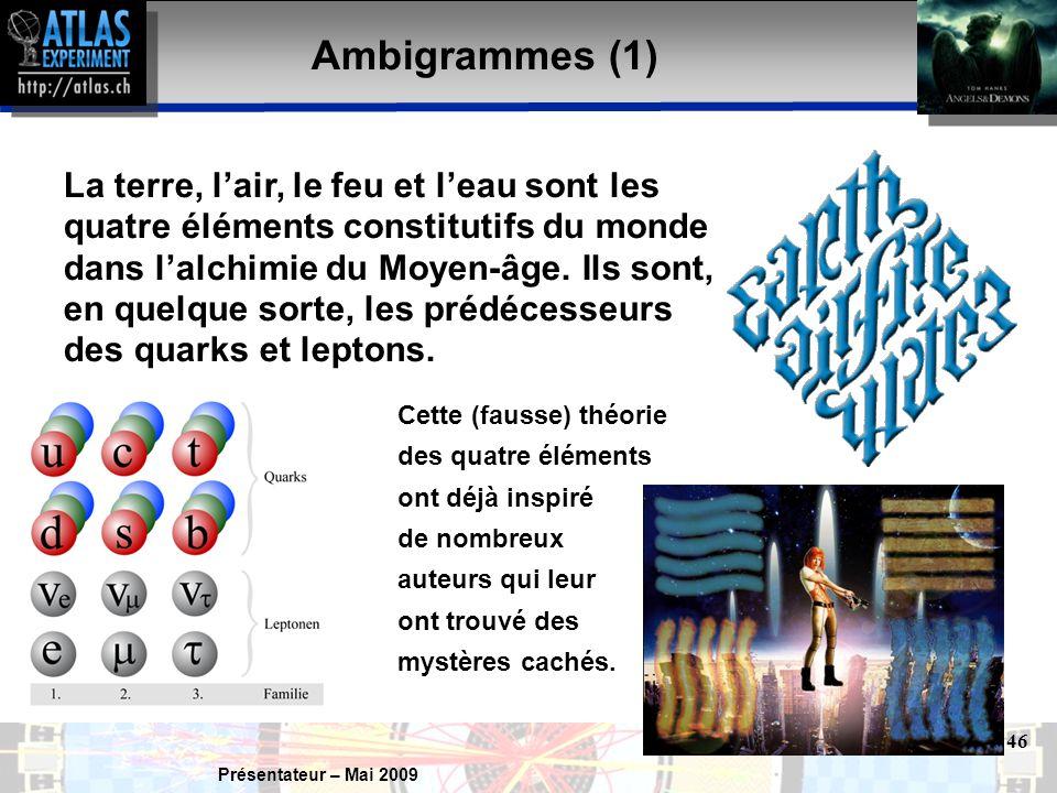 Présentateur – Mai 2009 46 Ambigrammes (1) La terre, l'air, le feu et l'eau sont les quatre éléments constitutifs du monde dans l'alchimie du Moyen-âge.