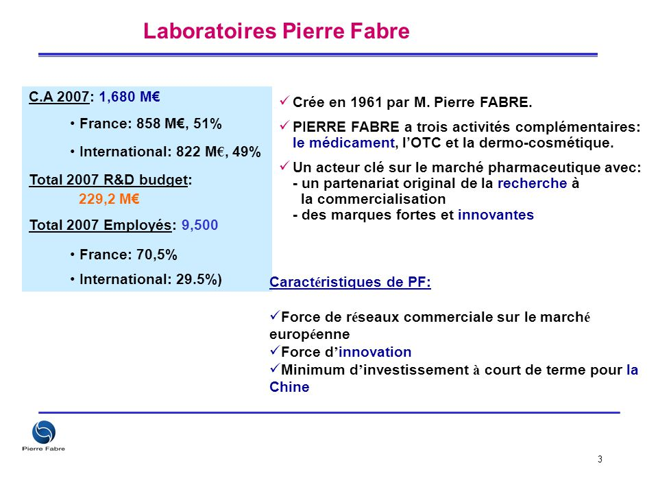 3 C.A 2007: 1,680 M€ France: 858 M€, 51% International: 822 M €, 49% Total 2007 R&D budget: 229,2 M€ Total 2007 Employés: 9,500 France: 70,5% Internat