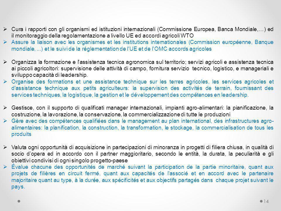 14  Cura i rapporti con gli organismi ed istituzioni internazionali (Commissione Europea, Banca Mondiale,…) ed il monitoraggio della regolamentazione