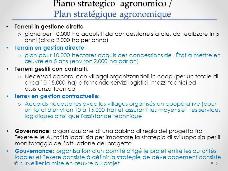 Piano strategico agronomico / Plan stratégique agronomique Piano strategico agronomico / Plan stratégique agronomique Terreni in gestione diretta o pi