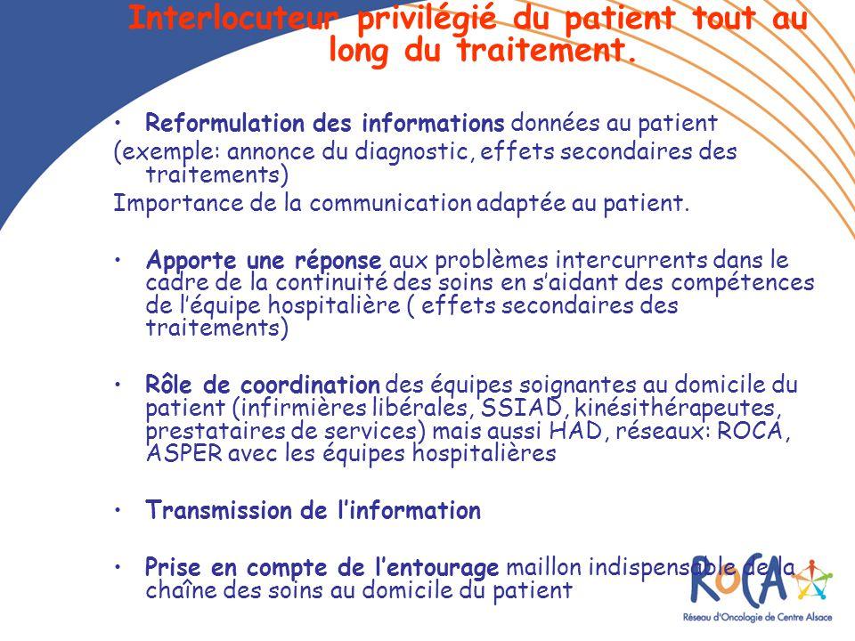 Interlocuteur privilégié du patient tout au long du traitement. Reformulation des informations données au patient (exemple: annonce du diagnostic, eff