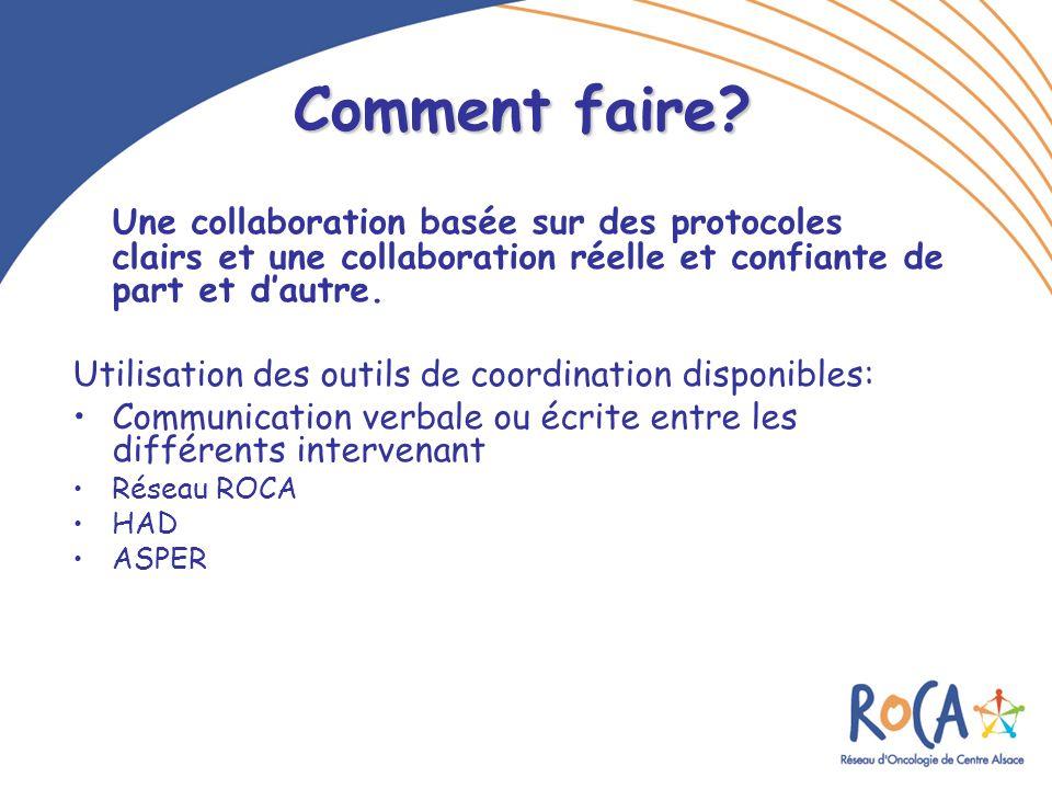 Comment faire? Une collaboration basée sur des protocoles clairs et une collaboration réelle et confiante de part et d'autre. Utilisation des outils d