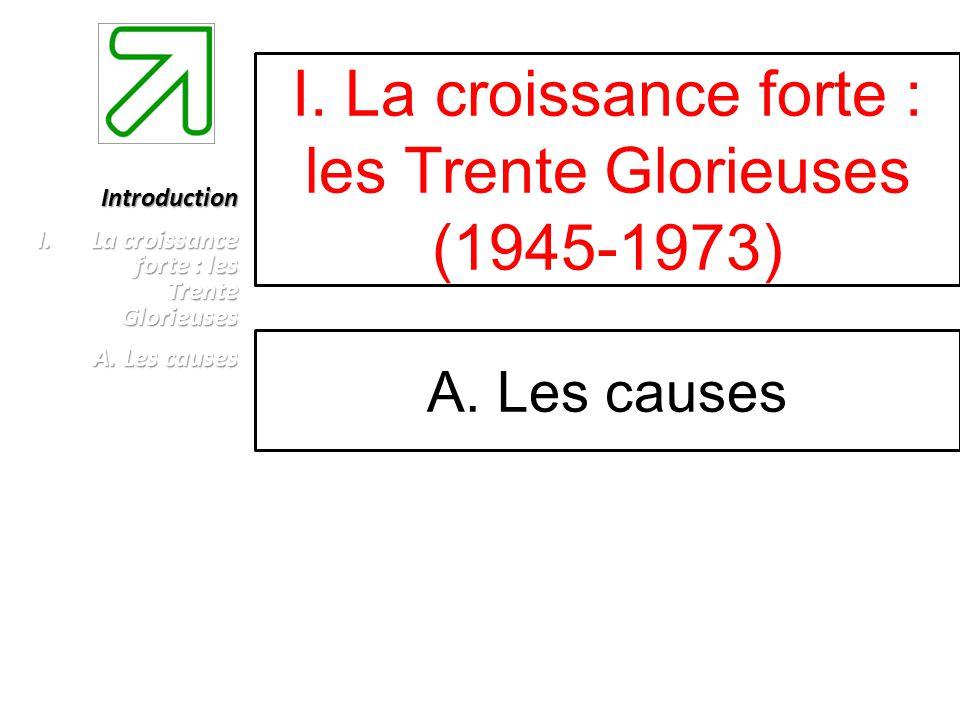 I. La croissance forte : les Trente Glorieuses (1945-1973) A. Les causes Introduction I.La croissance forte : les Trente Glorieuses A. Les causes