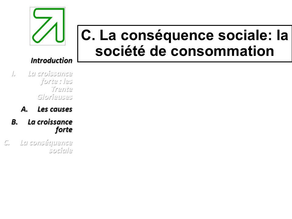 C. La conséquence sociale: la société de consommation Introduction I.La croissance forte : les Trente Glorieuses A.Les causes B.La croissance forte C.
