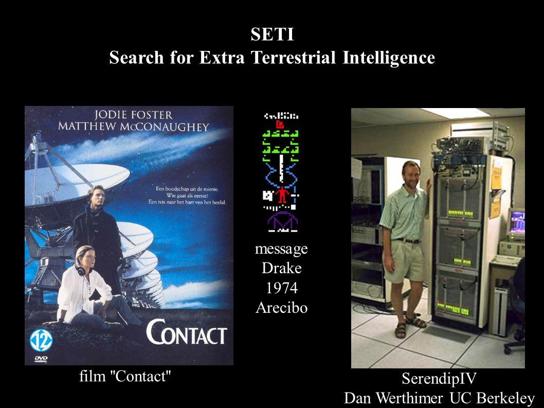 SETI Search for Extra Terrestrial Intelligence SerendipIV Dan Werthimer UC Berkeley film Contact message Drake 1974 Arecibo