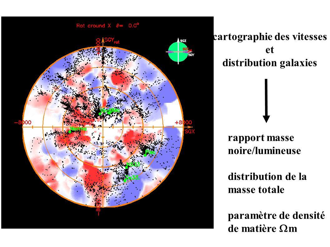 rapport masse noire/lumineuse distribution de la masse totale paramètre de densité de matière  m cartographie des vitesses et distribution galaxies