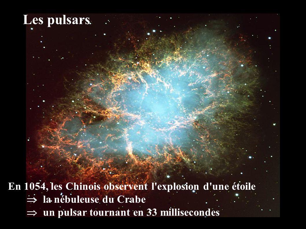 En 1054, les Chinois observent l explosion d une étoile  la nébuleuse du Crabe  un pulsar tournant en 33 millisecondes Les pulsars