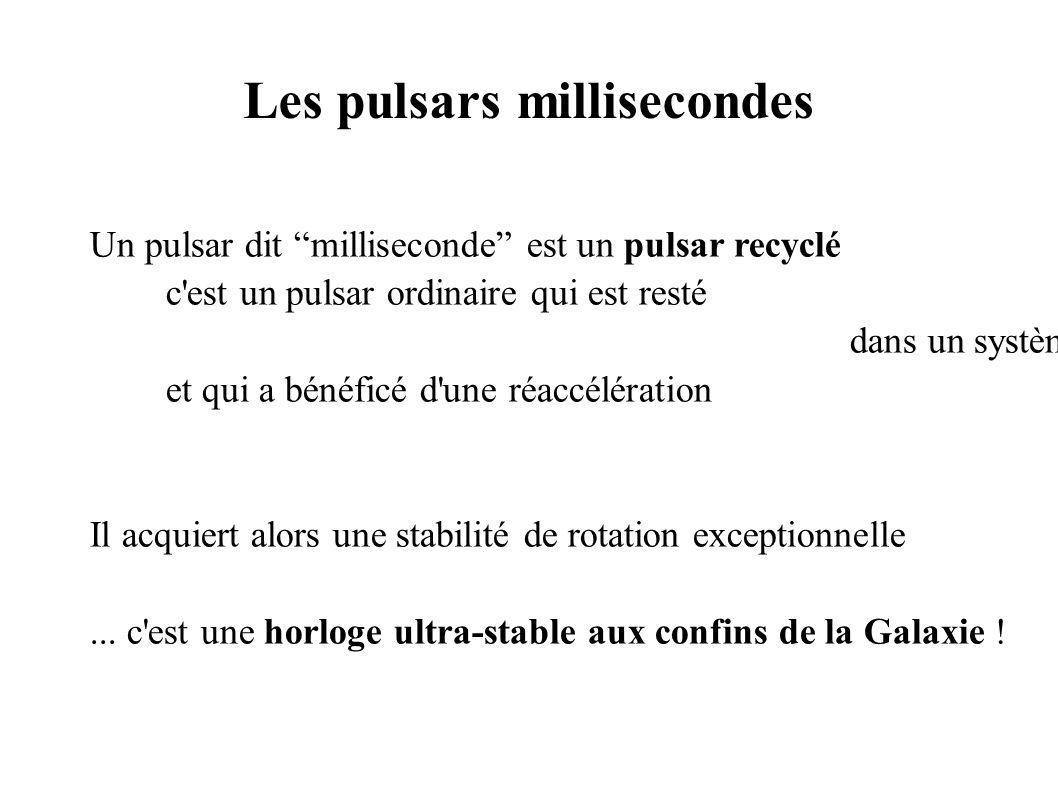 Les pulsars millisecondes Un pulsar dit milliseconde est un pulsar recyclé c est un pulsar ordinaire qui est resté dans un système binaire et qui a bénéficé d une réaccélération Il acquiert alors une stabilité de rotation exceptionnelle...